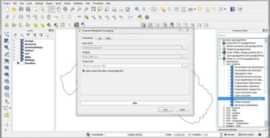 Weighted Sum Raster Overlay Analysis using QGIS