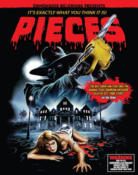 PIECES (1983/horror) 2 Blu-ray + CD soundtrack set. Directed by Juan Piquer Simon. Starring Christopher George, Edmund Purdom, Lynda Day George, Paul Smith, Ian Sera. Grindhouse Releasing