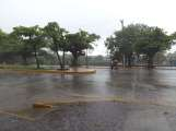 Rain on La Calzada in Granada, Nicaragua