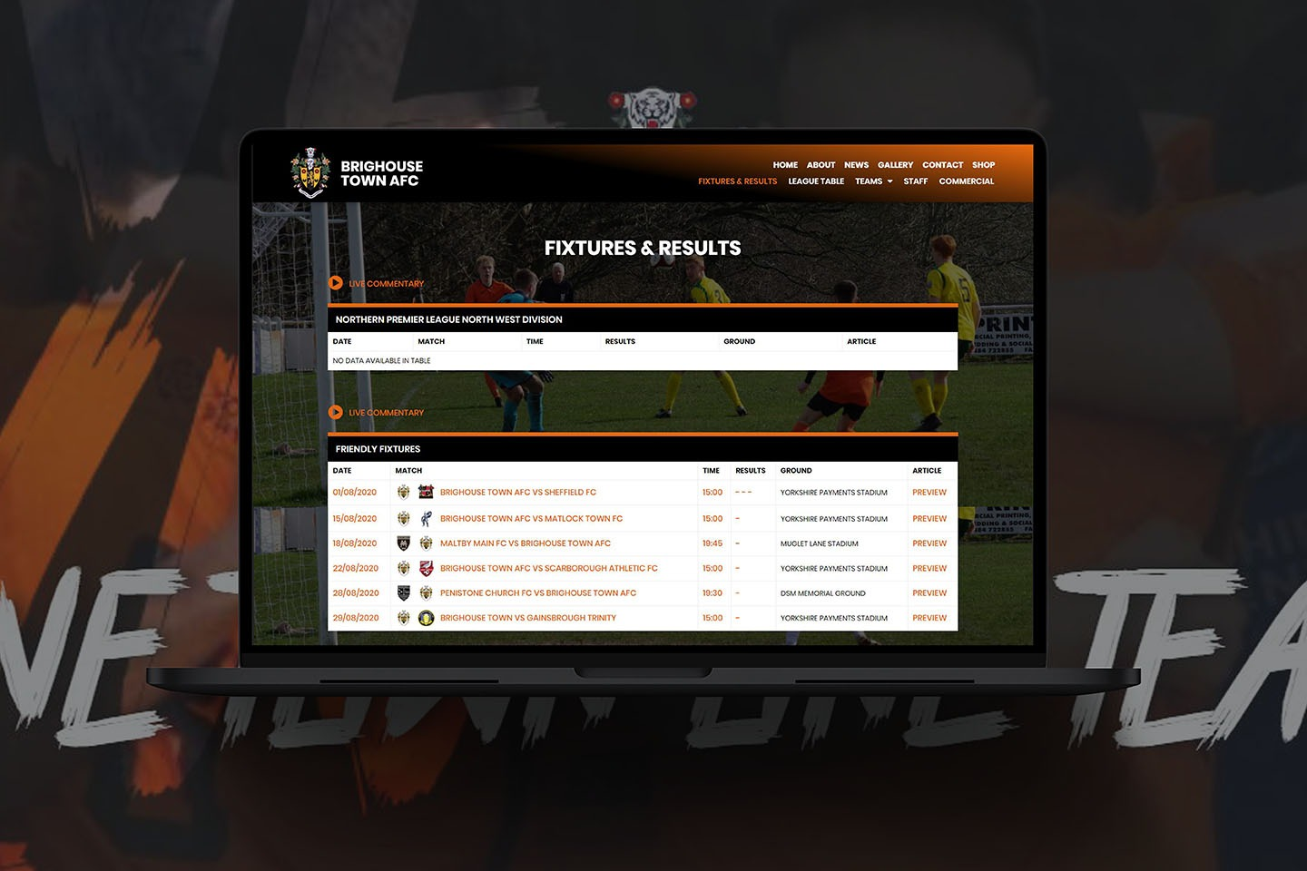 Sports Website design for Brighouse Town aFC