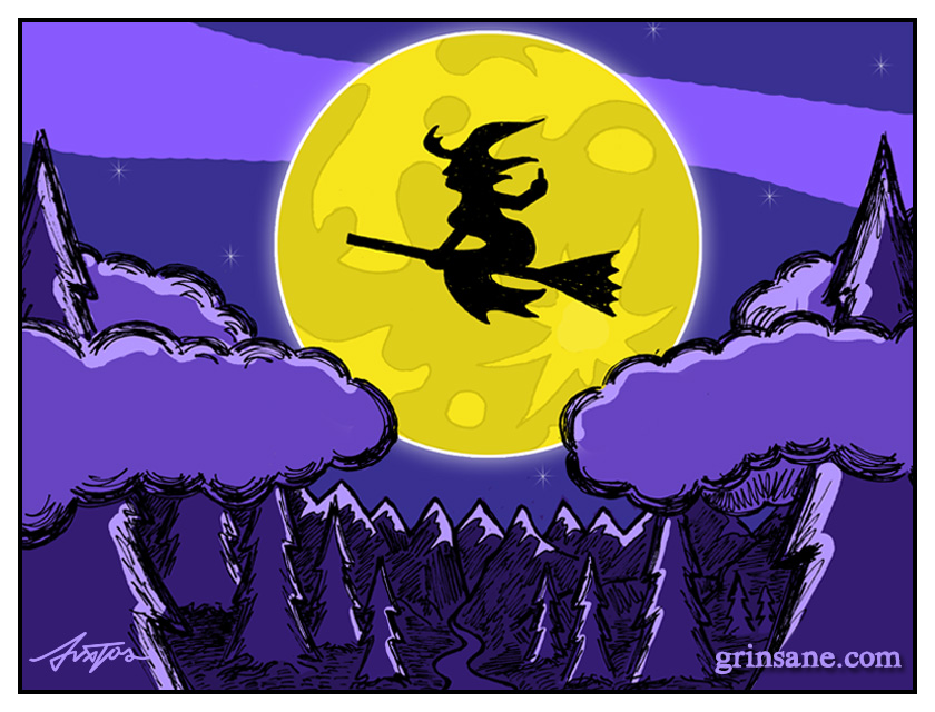Full Moon Witch Does Flip On Broom