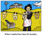 Leatherface does his laundry cartoon