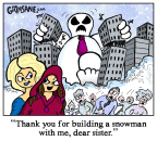 sister build snowman cartoon