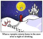 Vampire Pee in Snow Cartoon