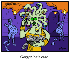 Medusa Gorgon Hair Care Cartoon