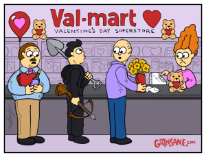 Val-Mart Valentine's Day Superstore Crossbow Cartoon