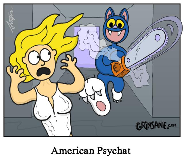 American Psycho Cat Cartoon