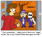 Candy Extortion Halloween Cartoon