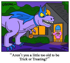 Trick or Treating Halloween Dinosaur