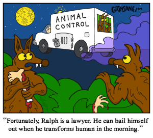 Werewolf Dog Catcher Cartoon