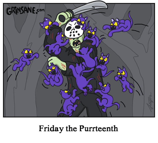 Friday the Purrteenth Cartoon