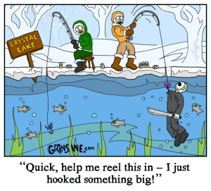 Crystal Lake Ice Fishing Cartoon