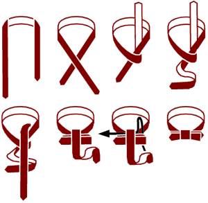Diagram showing How to Tie a Bow Tie