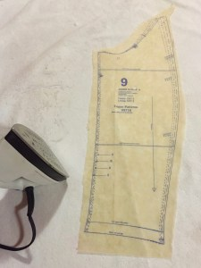 Photo of a piece of the Vogue 8179 Pattern being ironed