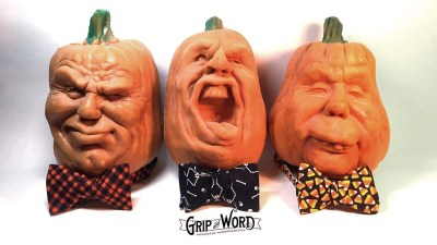 Photo of Halloween bow ties with jack o'lanterns