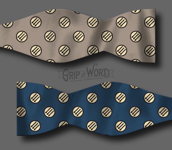 Blue and Taupe Anti-fascist bow tie mockup