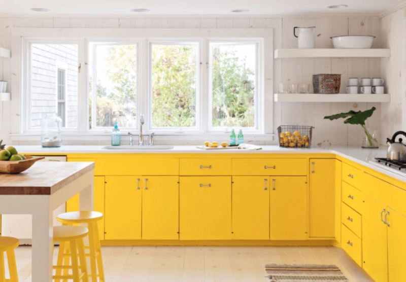 Yellow And WhiteShades kitchen