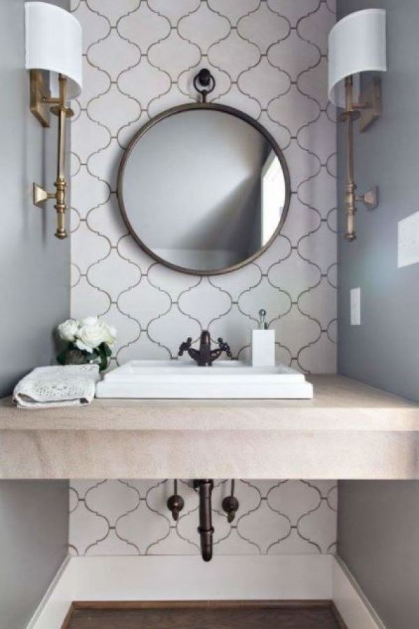 antique half bathroom