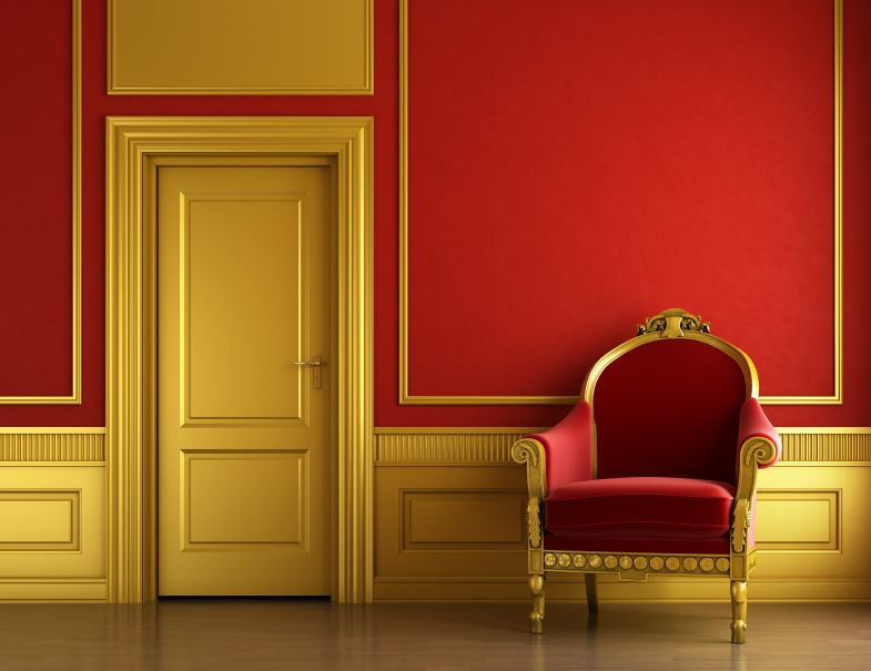 gold wainscoting