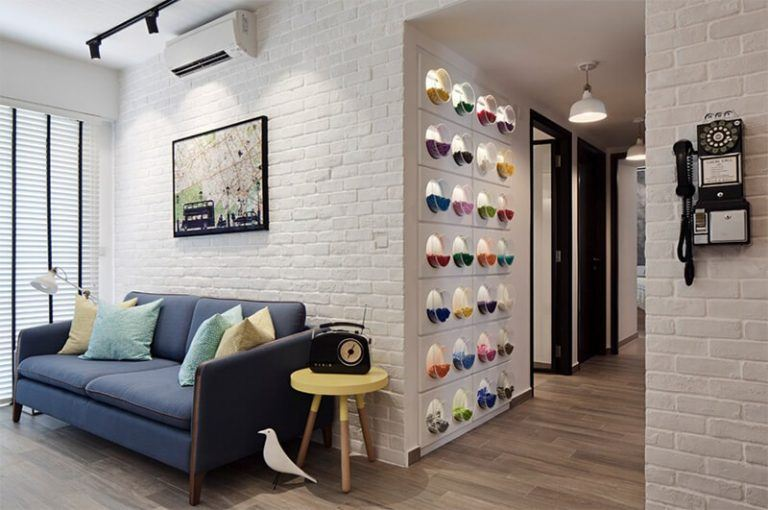 white brick wall apartment