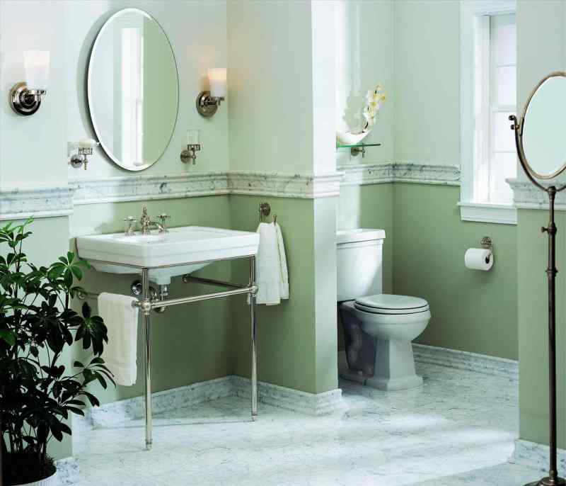 Green Bathroom chair rail