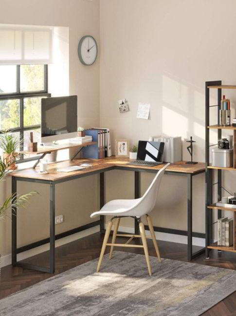 Modern corner desk setup