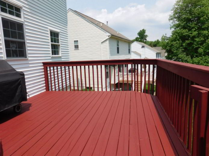 Shiny Red Wooden Deck Ideas