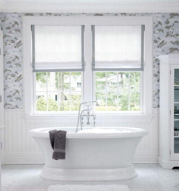 White Bathroom Roman Shades