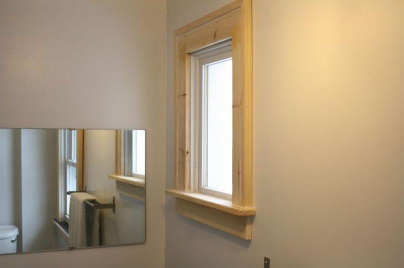 window casing idea for bathroom