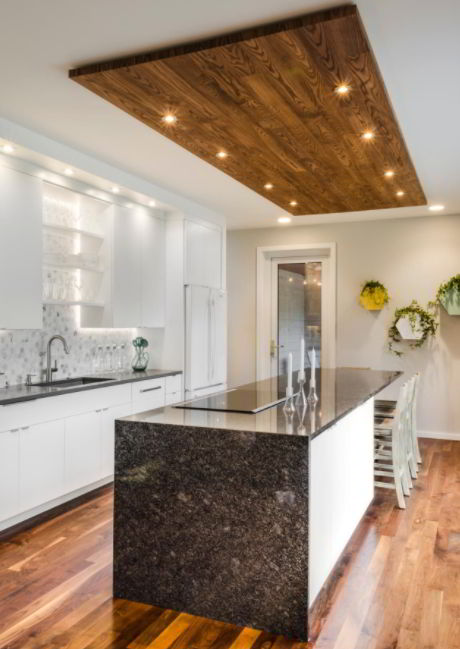 Wooden Ceiling Panel with Recessed Light Fixtures