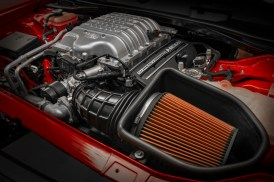 The 2018 Dodge Challenger SRT Demon's standard Air-Grabber™ intake system features a significantly larger air box that is sealed and ducted to the hood scoop.