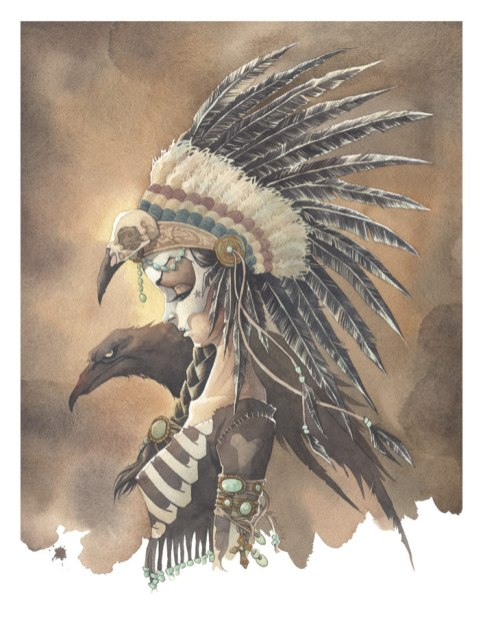 Crow Jane gris grimly girl skeleton raven indian head dress skull paint americana