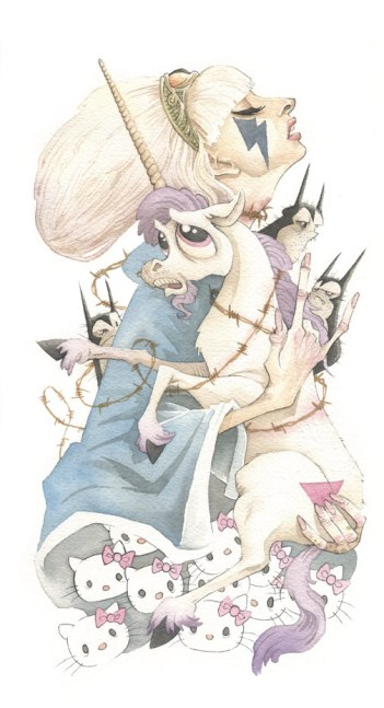 Lady Gaga gris grimly