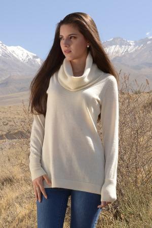 Alpaca cowl neck ivory tunic