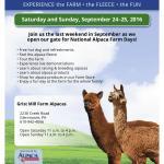 GRIST MILL FARM PARTICIPATES IN  NATIONAL ALPACA FARM DAYS