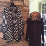 houndstooth cape made with alpaca, wool and trimmed in Italian leather and brown coat
