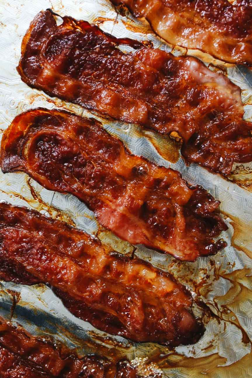 close up photo of cooked bacon