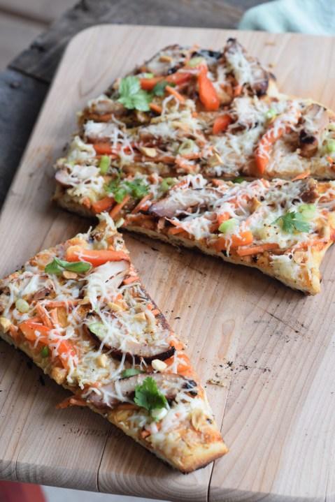 Thai Grilled Chicken Pizza One slice