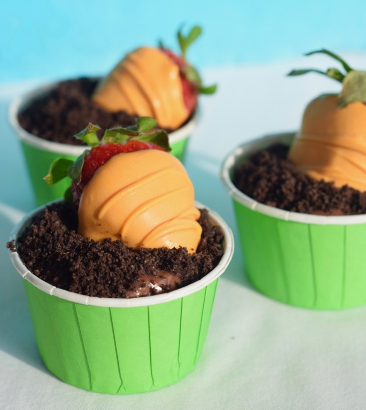 Orange candy coating disguises fresh strawberries as carrots in the garden. They are nestled in chocolate pudding and Oreo crumbs to resemble carrots in a garden.