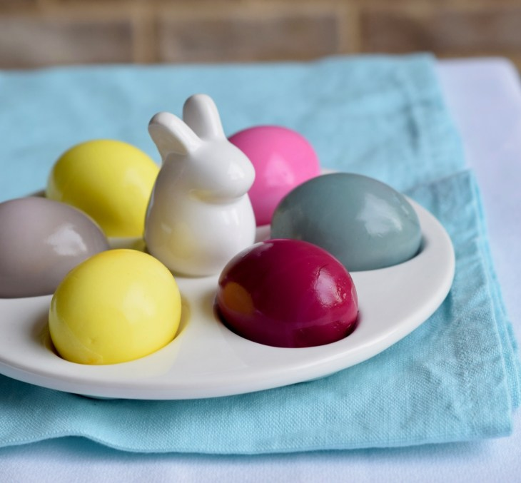 Naturally dyed hard cooked eggs in the Instant Pot. Use what you already have in your refrigerator like pickled beets and grape juice. These are on a cute rabbit plate.