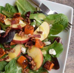 apple butternut salad on a white plate