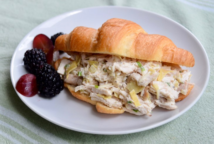 Parmesan Artichoke Chicken Salad on a croissant