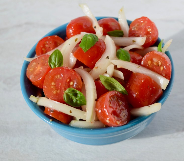 vidalia onions grape tomato basil salad