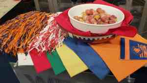 Bacon Wrapped Cheesy Tator Tots with SEC football colors Wallace State, UAB Alabama, Auburn