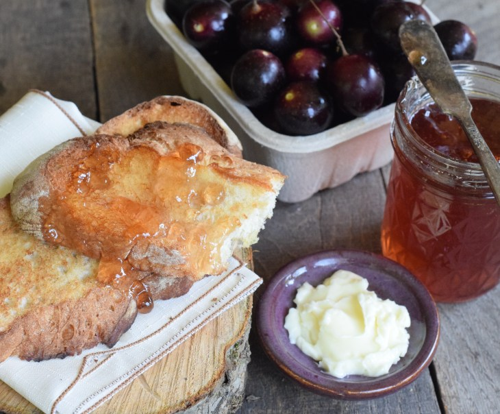 muscadine jelly spread on toast with homemade butter and carton of musdadines