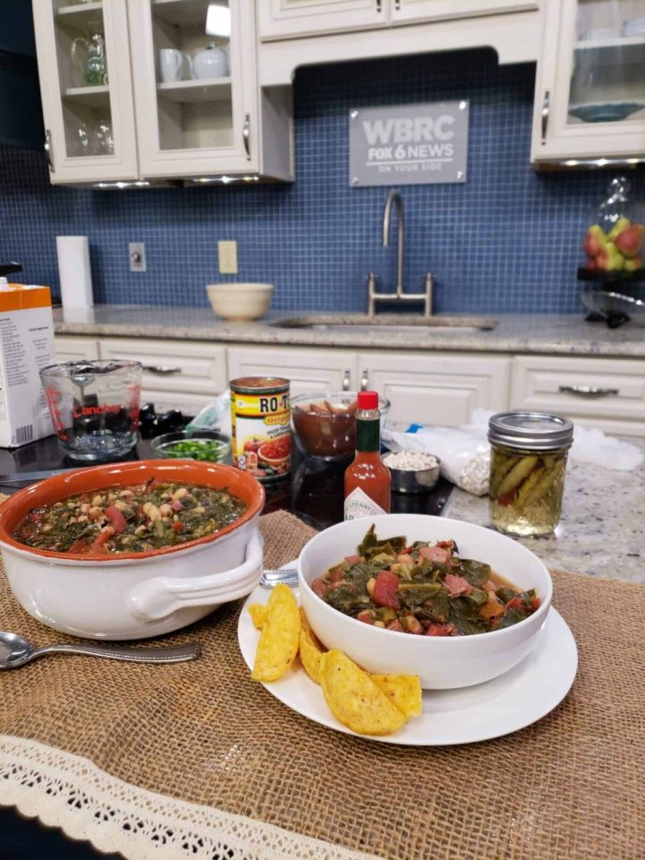 Good Day Alabama tv kitchen with collard greens and tomatoes in bowls on burlap fabric