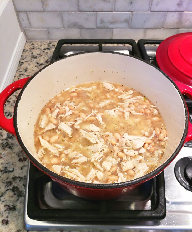 Simmering White Bean Chicken Chili. If you prefer a creamier, less brothy soup, partially mash the beans with a potato masher right in the soup pot.