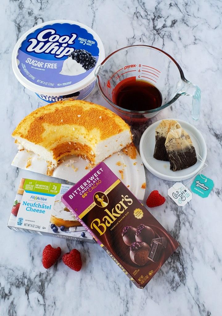 Ingredients for GritsAndGouda.com's Sweet Tea Trifle for Two recipe: Southern Breeze Sweet Tea, Sugar Free Cool Whip, angel food cake, Neufchatel, bittersweet chocolate, raspberries