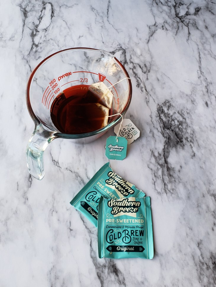 Two bags of Southern Breeze Sweet Tea original steeped in 1/2 cup water creates a strong tea mixture for Tiramisu Trifle