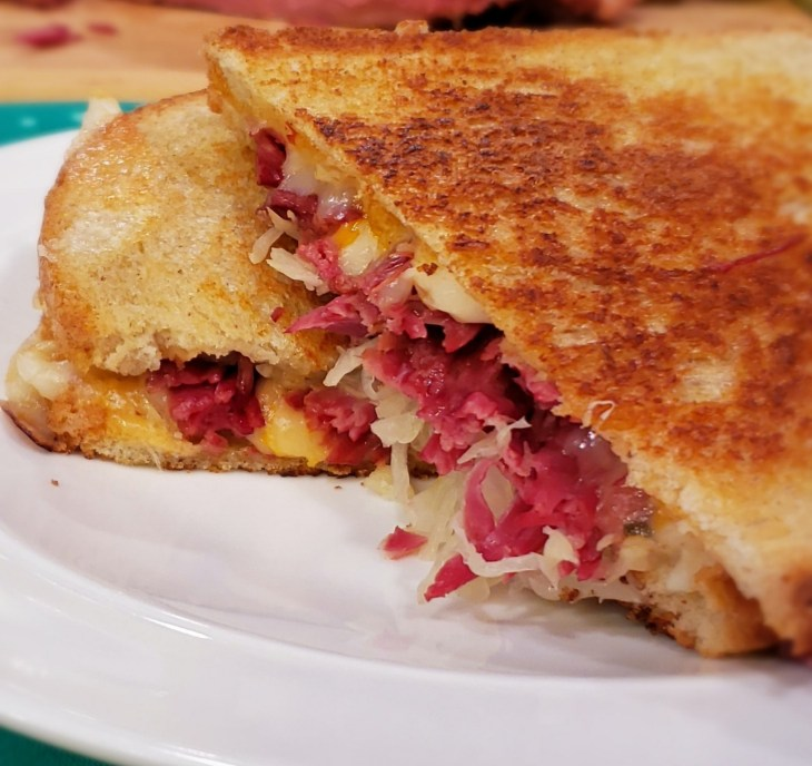 How to make homemade Reuben Sandwiches in the Instant Pot that will rival a Jewish deli-in a fraction of the time! Close up of reuben sandwich